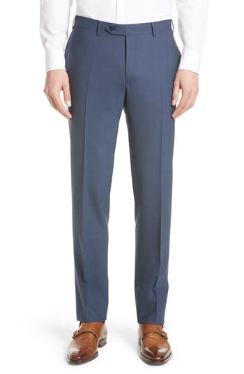Men's Canali Flat Front Solid Stretch Wool Trousers