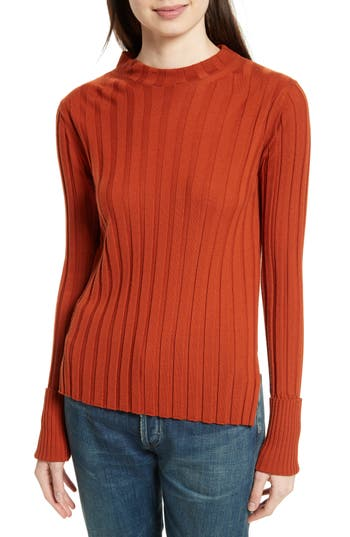 Theory Wide Ribbed Mock Neck Wool Sweater, Size Petite - Orange