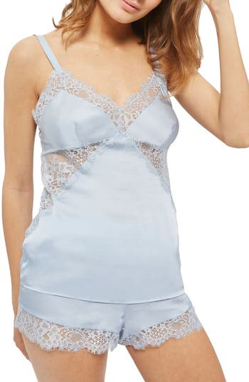 Women's Topshop Bride Melissa Camisole Pajamas, Size 12 US (fits like 14) - Blue