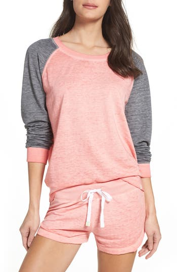 Honeydew Intimates Burnout Lounge Sweatshirt, Coral