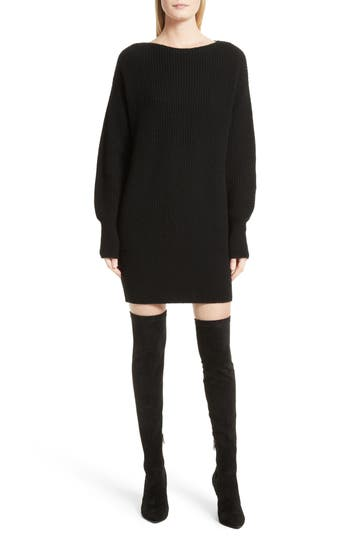 Theory Nimbus Wool Ribbed Cocoon Dress, Size Petite - Black