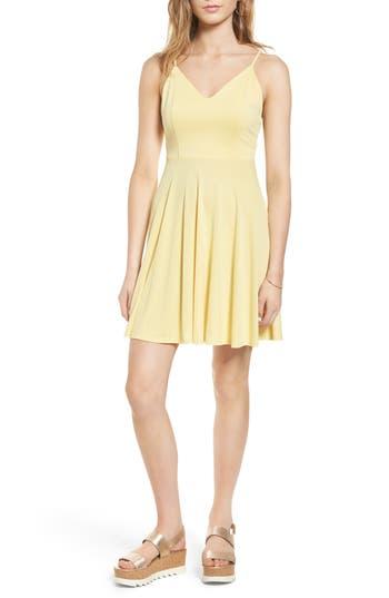 Soprano Cross Back Fit & Flare Dress, Yellow