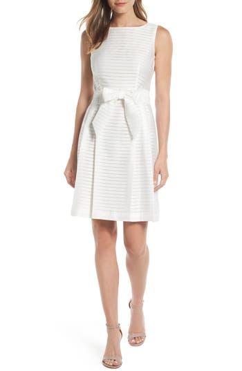 Women's Anne Klein Shadow Stripe Fit & Flare Dress