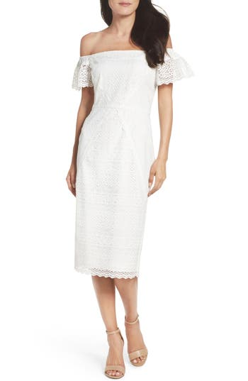 Maggy London Lace Off The Shoulder Shift Dress, White