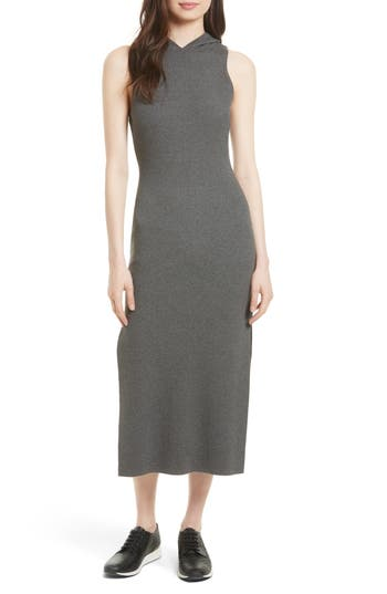 Milly Hooded Jersey Midi Dress, Size Petite - Grey