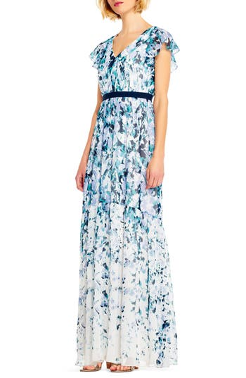 Adrianna Papell Floral Print Chiffon Gown, Blue