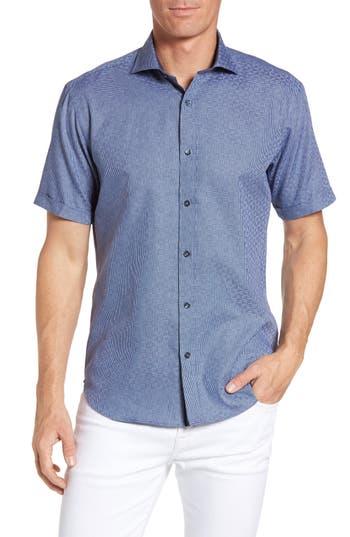 Men's Bugatchi Shaped Fit Geo Print Short Sleeve Sport Shirt