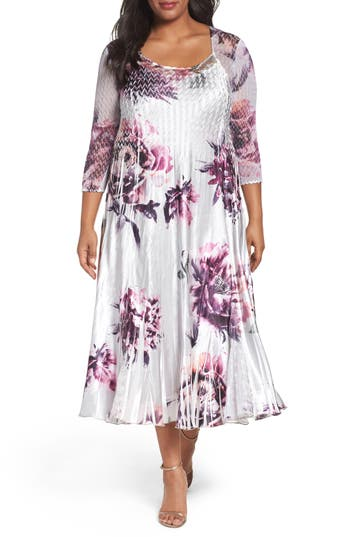 Plus Size Women's Komarov Lace Inset Print A-Line Dress