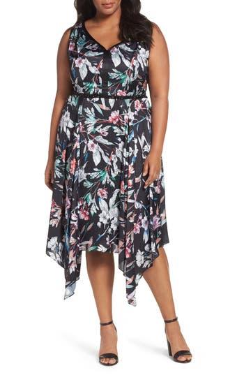 Plus Size Adrianna Papell Print Satin Chiffon Handkerchief Dress, Black
