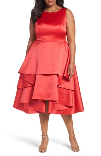 Plus Size Adrianna Papell Charmeuse & Mikado Flounce Tier Party Dress, Red