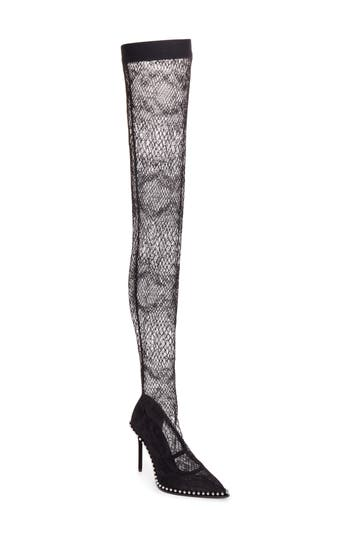 Alexander Wang Lyra Thigh-High Fishnet Stocking Pump, Black