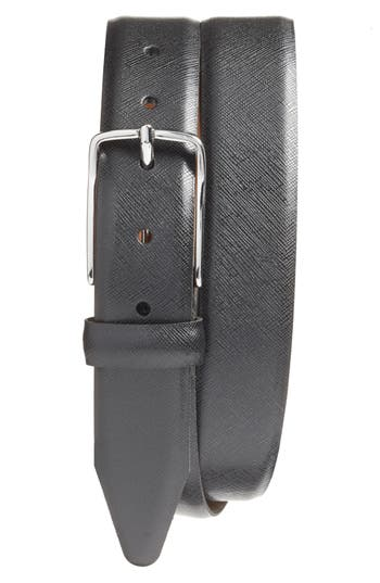Big & Tall Nordstrom Shop Evans Saffiano Leather Belt, Black