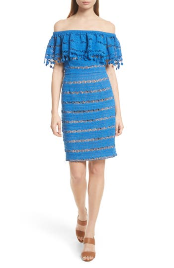 Tracy Reese Off The Shoulder Crochet Dress, Blue