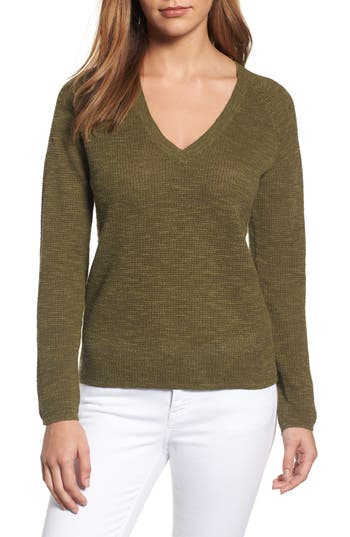 Eileen Fisher V-Neck Organic Linen & Cotton Sweater, Green