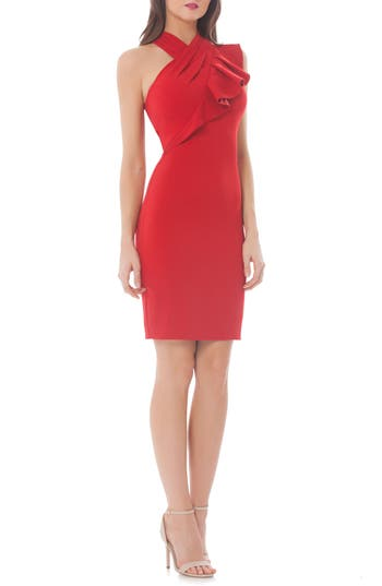 Carmen Marc Valvo Infusion Stretch Sheath Dress, Red