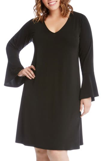 Plus Size Karen Kane Taylor Bell Sleeve A-Line Dress, Black