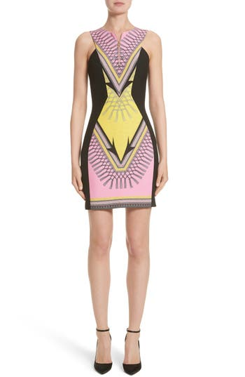 Versace Collection Scarf Print Stretch Cady Dress, US / 44 IT - Pink