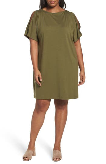 Plus Size Eileen Fisher Slit Sleeve Kimono Dress, Green