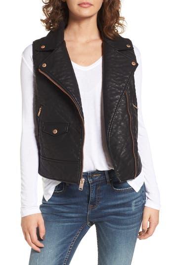 Andrew Marc Billie Faux Leather Vest, Black