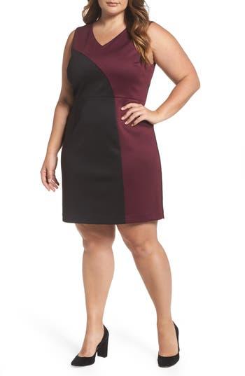Plus Size Ellen Tracy Colorblock Scuba Sheath Dress, Black