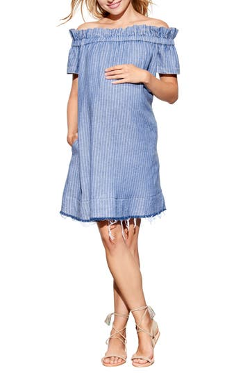 Maternal America Off The Shoulder Maternity Dress, Blue