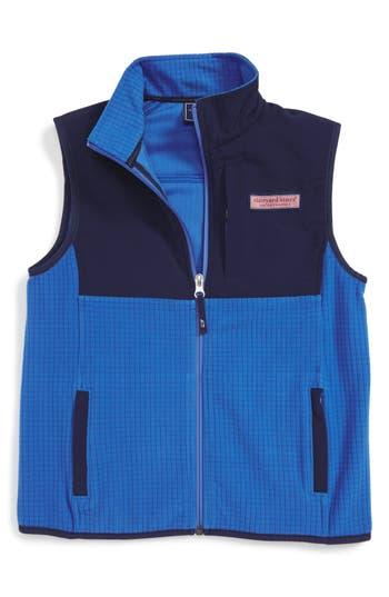 Boy's Vineyard Vines Grid Fleece Vest, Size XL (18) - Blue