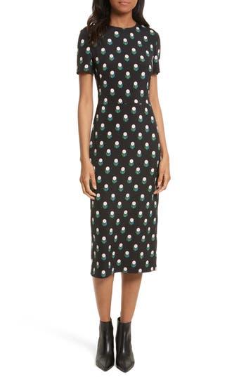 Diane Von Furstenberg Print Body-Con Midi Dress, Black