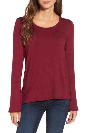 Michael Stars Bell Sleeve Tee, Size One Size - Burgundy