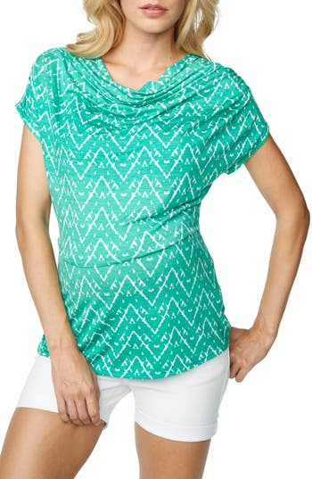 Women's Maternal America Cowl Neck Maternity/nursing Top, Size Large - Blue