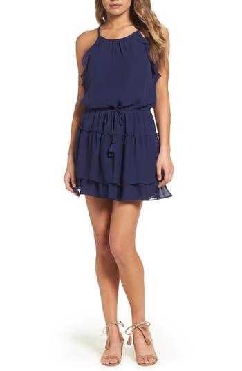 Greylin Tami Ruffle Halter Minidress, Blue