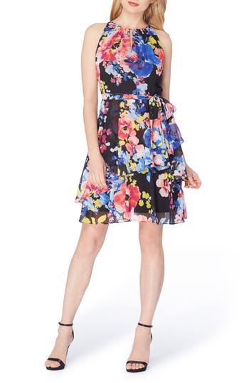 Tahari Asymmetrical Tiered Chiffon Halter Dress