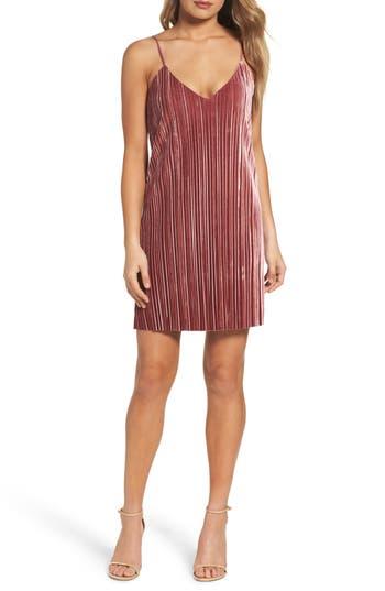 Bardot Pleat Velvet Slipdress, Pink