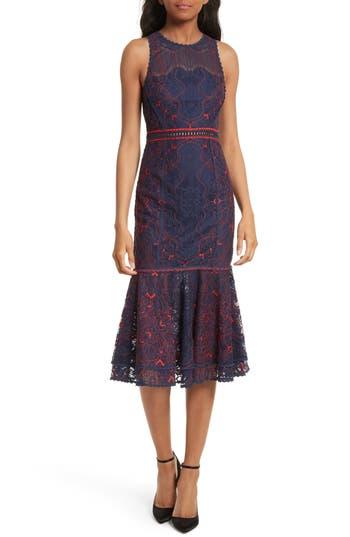 Jonathan Simkhai Lace Ruffle Hem Dress, Blue
