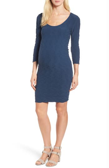 Tees By Tina Crinkle Maternity Sheath Dress, Size One Size - Blue