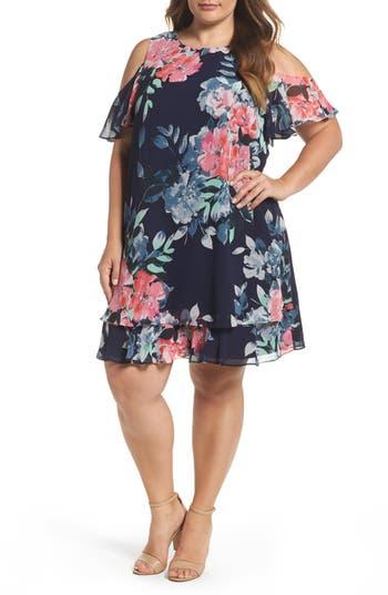 Plus Size Eliza J Print Chiffon Tiered Cold Shoulder Dress