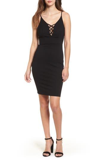 Soprano Cross Front Body-Con Dress, Black