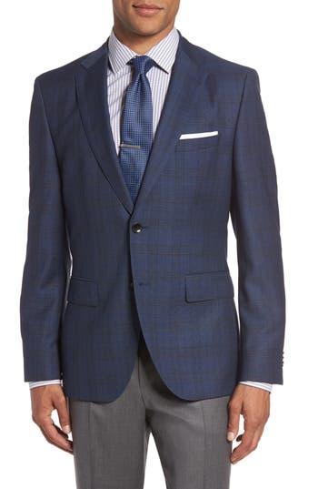 Boss Jeen 3 Trim Fit Plaid Wool Sport Coat, S - Blue