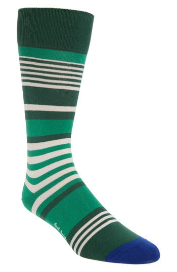 Men's Paul Smith Stripe Socks, Size One Size - Green