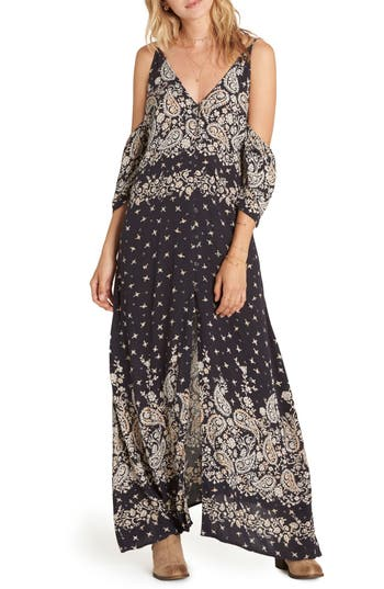 Billabong Desert Dance Cold Shoulder Maxi Dress, Black