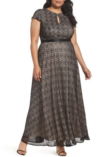 Plus Size Alex Evenings Belted Lace Keyhole Gown, Black