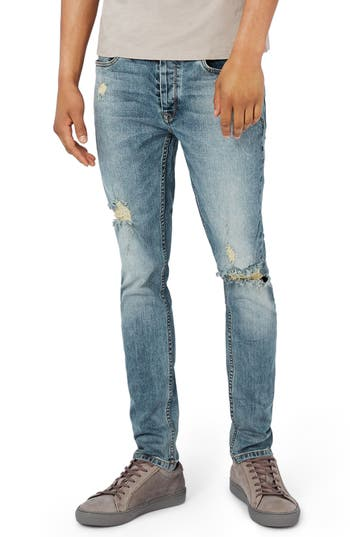 Topman Ripped Stretch Skinny Fit Jeans, Blue