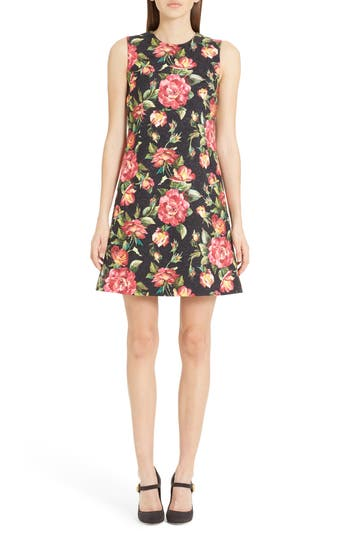 Dolce & gabbana Rose Print Brocade A-Line Dress, Black