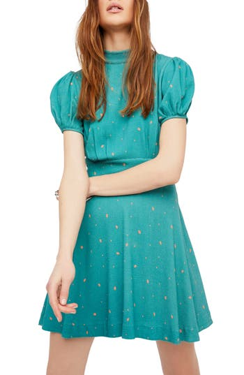 Free People Abbie Fit & Flare Dress, Green