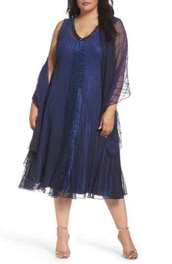 Plus Size Komarov Embellished Mixed Media A-Line Dress With Wrap, Blue