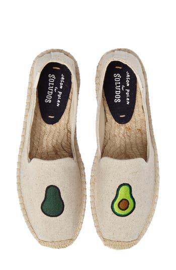 Soludos Avocado Embroidered Platform Espadrille- Beige
