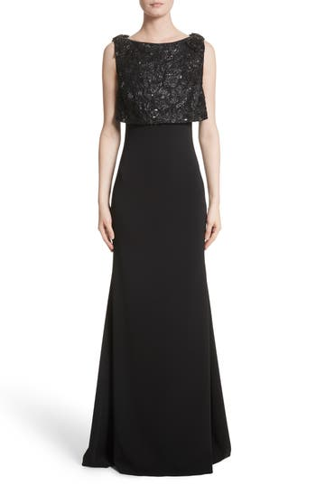Badgley Mischka Couture Embellished Popover Gown, Black