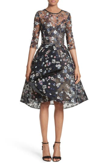 Monique Lhuillier Embroidered Lace Party Dress, Blue