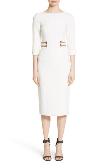 Michael Kors Leather Trim Stretch Boucle Crepe Sheath Dress, White