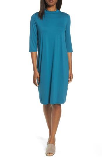 Eileen Fisher Mock Neck Jersey Shift Dress, Blue/green