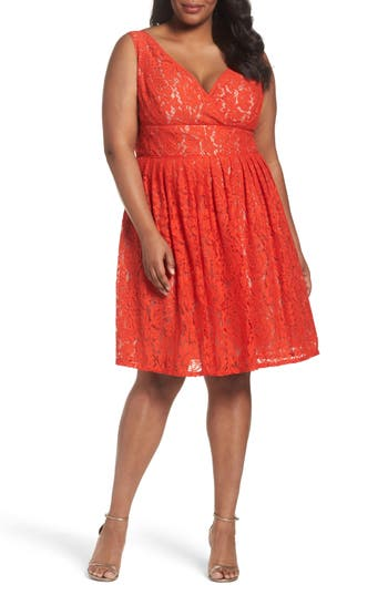 Plus Size Adrianna Papell Lace Fit & Flare Dress, Orange
